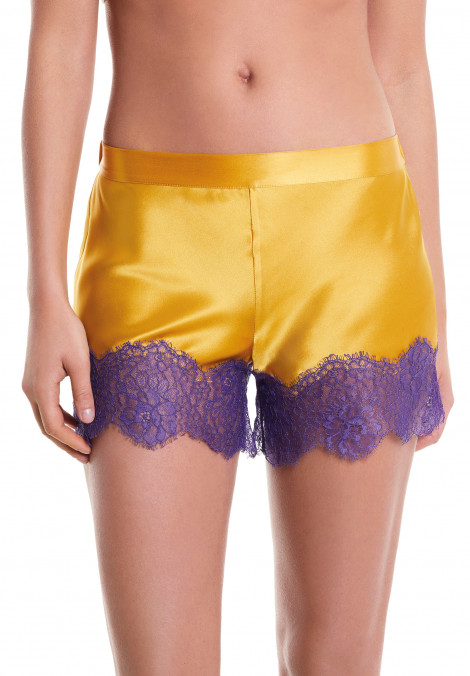 Silk Shorts With Jagged Lace