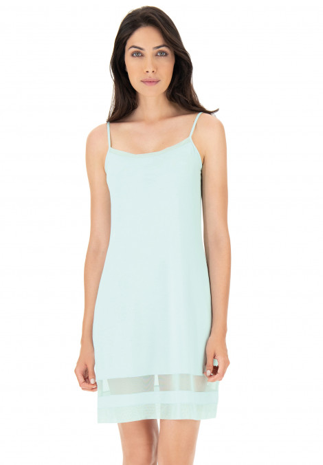 Modal chemise with tulle inserts