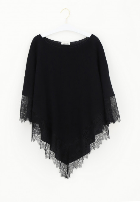 Poncho in Mohair e Pizzo Knitwear