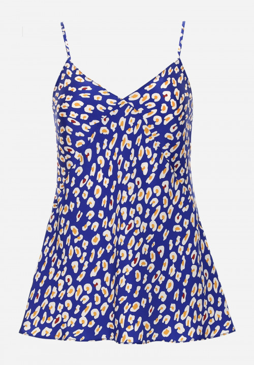 Printed Silk Top With Thin Straps