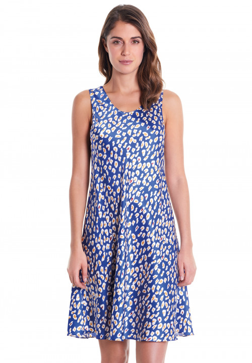 Printed Silk Dress With Wide Straps