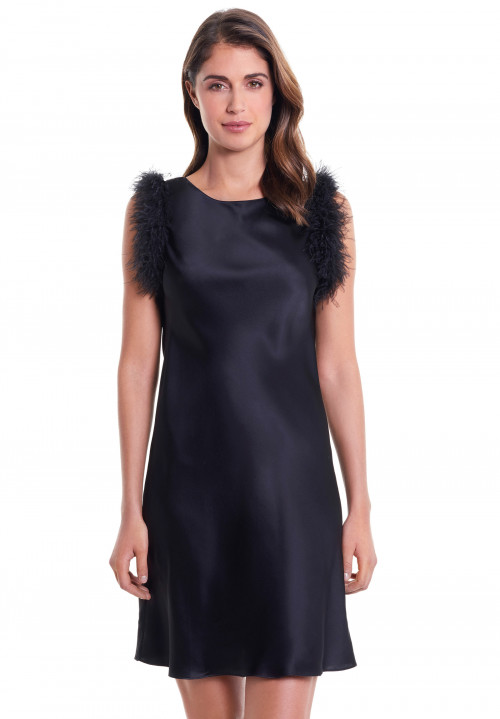 Silk Dress With Feathered Edges
