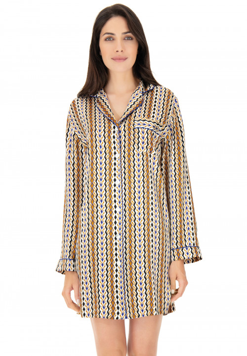 Printed silk long shirt