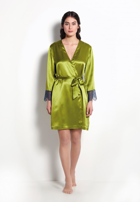 Kimono In A Silk Print With Jagged Lace