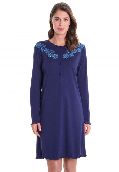 Nightgown In Cotton/Modal With Embroidery