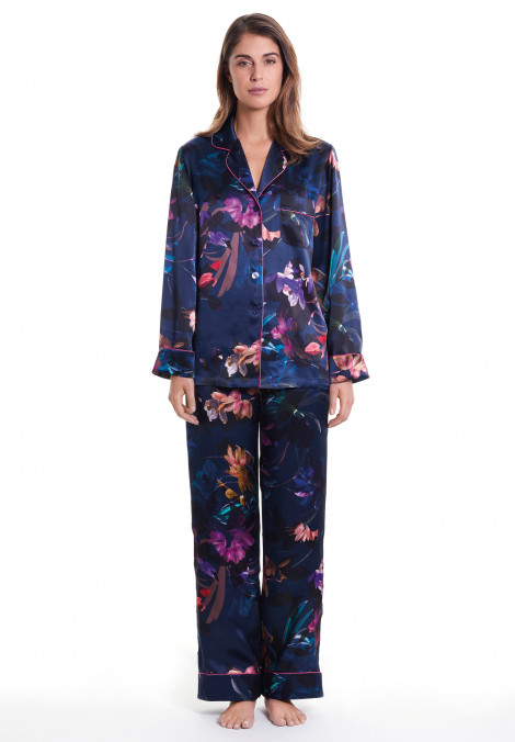 Printed Silk Pyjamas With Contrasting Detail