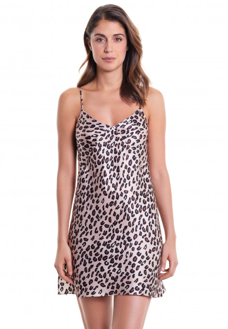 Printed Silk Short Chemise With Thin Straps