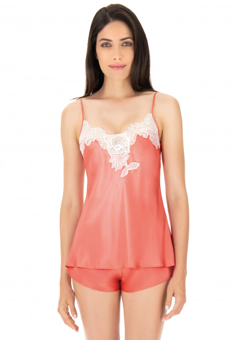 Silk top with jagged lace