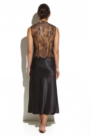 Silk Negligee With Jagged Lace