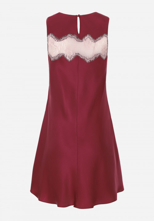 Silk Wide Shoulder Chemise With Jagged Lace