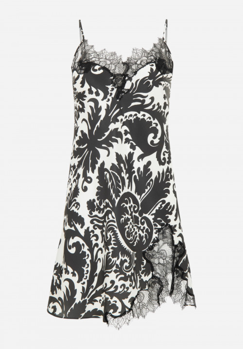 Printed Silk Chemise with lace