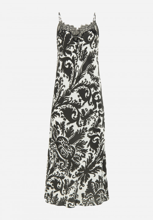Lace Printed Silk Negligee