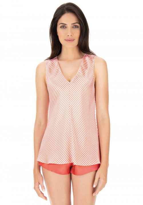 Printed silk top with wide straps