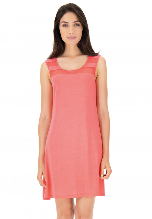 Modal chemise with wide straps and tulle inserts