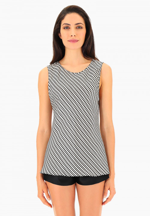 Wide Strap Printed Silk Top